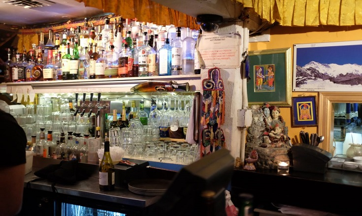 The bar inside of Annapurna cafe.