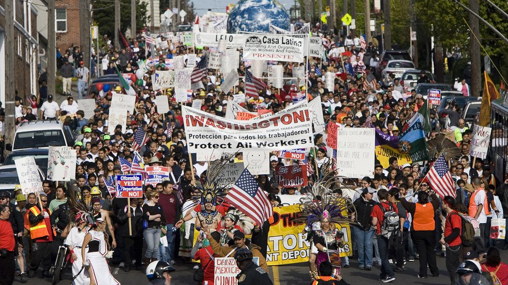 Immigrant Rights Activists Hold Major March On International Workers Day