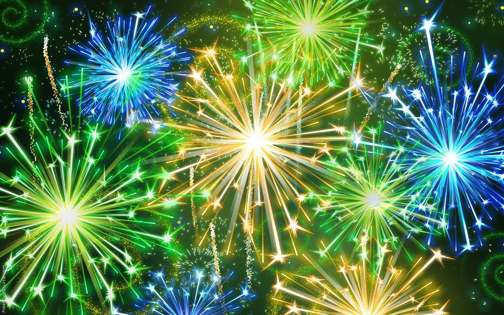 Blue, Green, and Yellow vivid Fireworks
