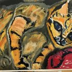 Painting of brown striped cat