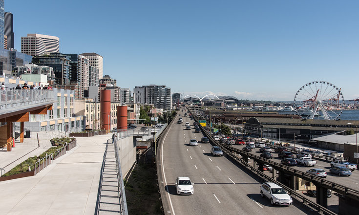 View of the Seattle Skyline from above the Alaskan Way Viaduct