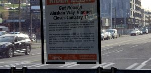 signage of viaduct closure from inside king country metro bus