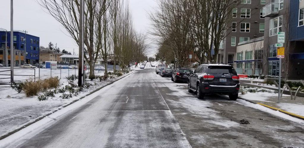 snowy street in west seattle