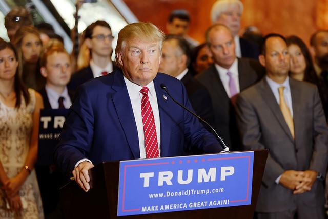 trump at a podium