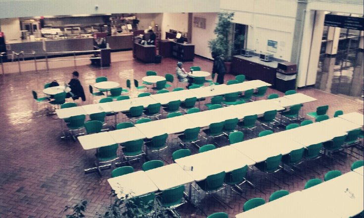 the atrium cafeteria as seen from the 3rd floor