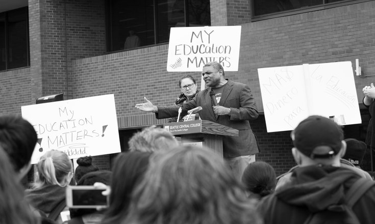 A speaker at the April 16 walkout outside Seattle Central,